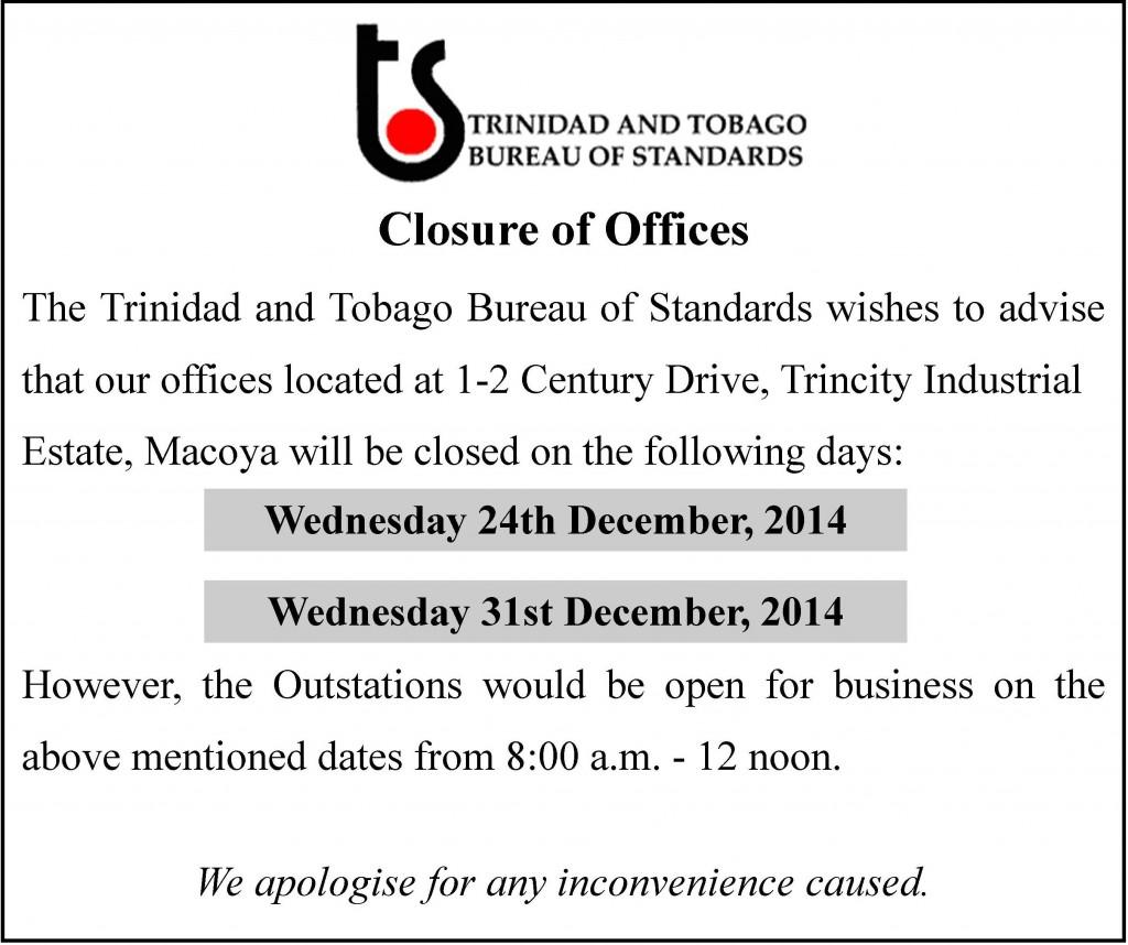 TTBS Christmas closing dates