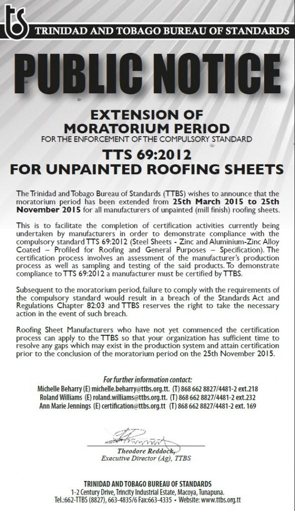 Public Notice -Extension of mortorium period