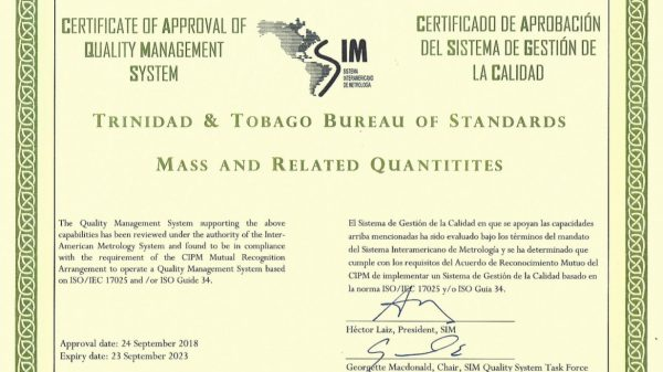 """First """"Certificate of Approval of Quality Management System"""" for CARICOM Signatories to the CIPM-MRA"""