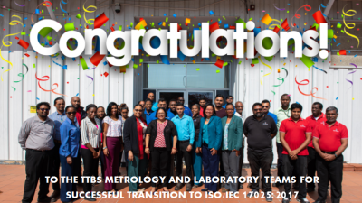 Congratulations to the TTBS Metrology and Laboratory Teams!